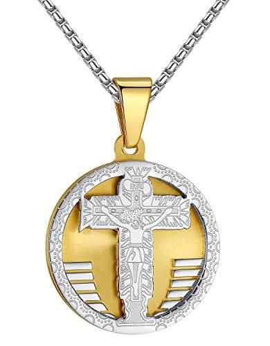 Stainless Steel Jesus Christ Crucifix Cross Medallion 2-Tone Pendant Necklace, Unisex, 21