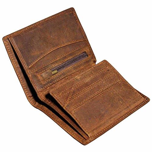 Brown fold Brown Men's Wallet Wallet Bi Banknote Wallet Holder Zip Leather Durable q7FZ7aP