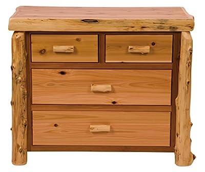 Fireside Lodge Furniture Cedar Hand Crafted Four Drawer Low Boy With Half Log Drawer, Traditional Cedar, Premium Line