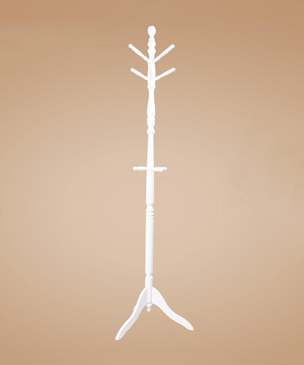 LIANGJUN 床の立っているコートの帽子ラック回転可能な滑り止め無垢材9フック木の小枝形状トライアングルベースサポート2色、50 * 183cm ( 色 : 白 ) B0799B4R7R 白