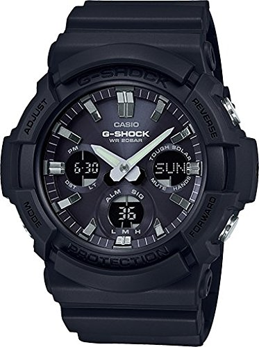 Casio GAS100B-1A G-Shock Tough Solar Men's Watch Black 55.1mm Resin/Aluminum case Black Resin Case