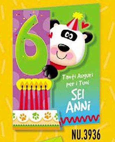Tarjeta Felicitación cumpleaños animalotti 6 años con Panda ...