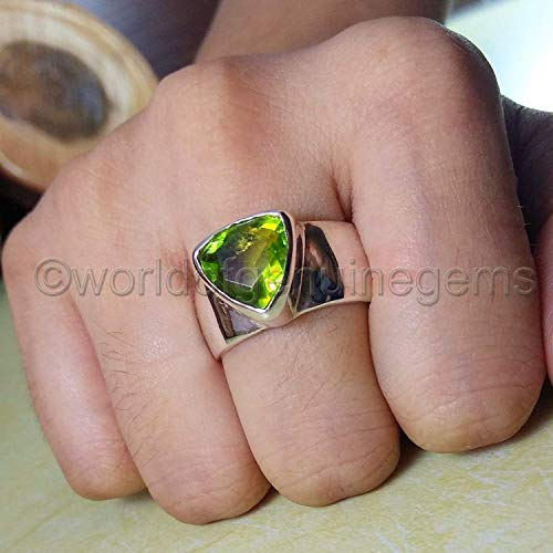 925 sterling silver, peridot ring, handmade jewelry, peridot mans band, brilliant quality ring, metaphysical ring, peridot statement ring. anniversary gift ring, valentine's day gift ring
