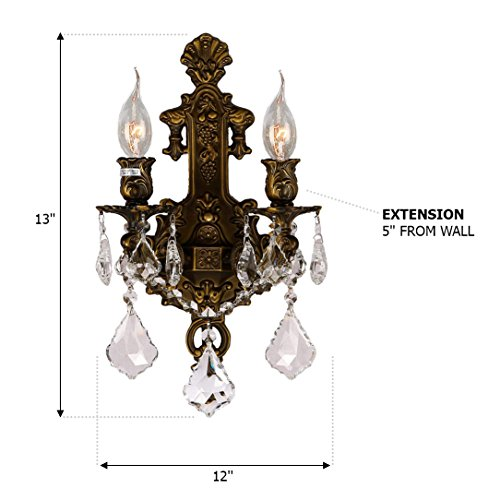 Worldwide Lighting W23315B12 Versailles 2 Light Crystal Wall Sconce, Antique Bronze Finish and Clear Crystal, Medium Fixture, 12'' W x 13'' H by Worldwide Lighting (Image #1)