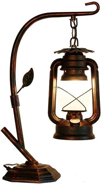 Lincjly Vintage lámpara de mesa de hierro forjado decoración ...