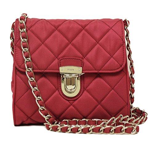 Prada BP0623 Hot Pink Tessuto Impuntu Pattina Nylon and Leather Chain Crossbody Bag