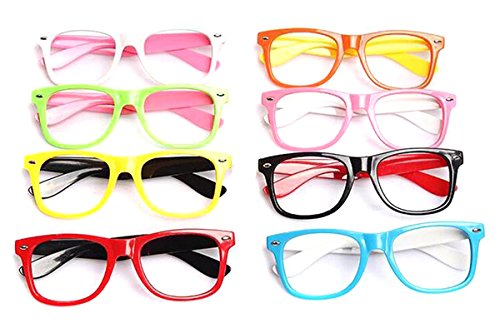 6 Pcs Kids Children Fashion Cute Candy Colour Nerd Glasses Frame Without Lenses - Retro Glasses for Party and Masquerade Supplies (Random Colour) (Style - Wholesale Nerd Glasses
