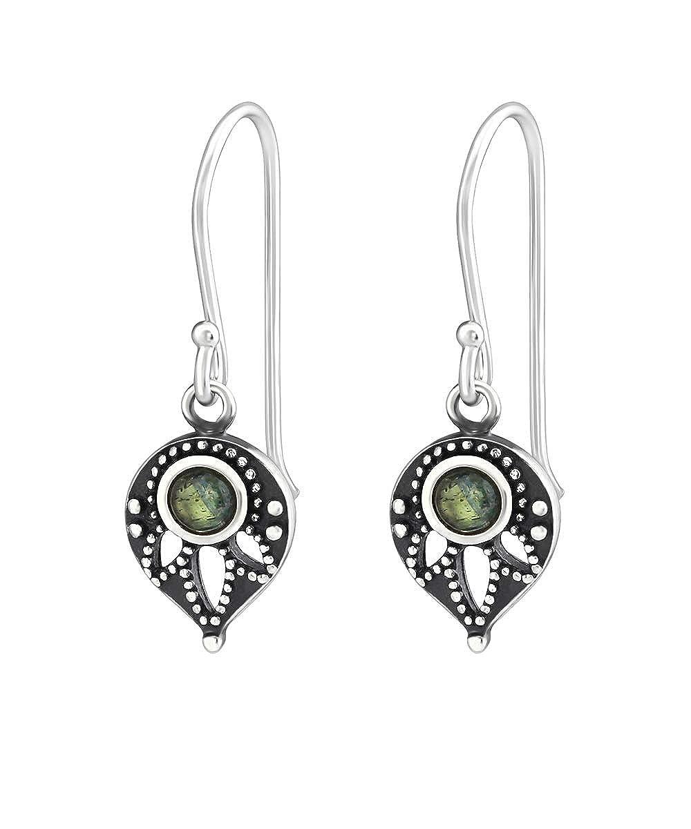 Sterling Silver Filigree Drop with Labradorite Wholesale Gemstone Fashion Jewelry Earrings