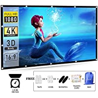 120 Inch Projector Screen 16:9 HD efnik 7 Brand Portable Projection Screen Foldable Anti-Crease for Home Cinema Theater and Outdoor Movie Screen Support Rear Projection (with Bag), Thicker Material