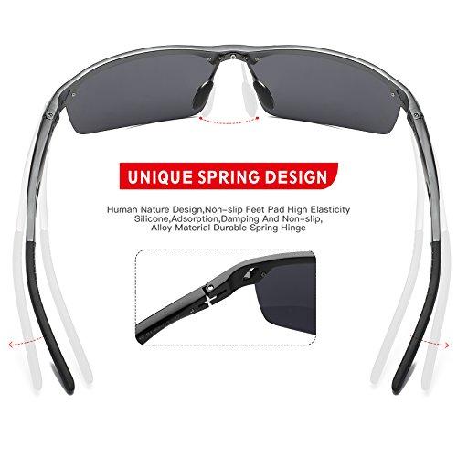 Duco de verres Hommes avec soleil Lunettes de Lunettes de colorés Noir soleil 8550 air soleil pour de Gris UV400 sports Lunettes polarisées plein incassables rarzHw