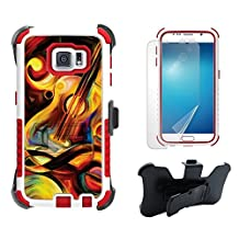 Galaxy S6 Case, S6 Case, Beyond Cell Tri Shield High Impact Armor Hybrid Rugged Phone Case With Built in kickstand & Belt Clip Holster Kombo-ColorFul Guitar-FREE Screen Protector