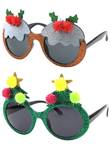 [Christmas Sun Glasses Costume Accessory Novelty Glitter Xmas Tree and Rudoph Sunglasses] (Glitter Beard Costume)