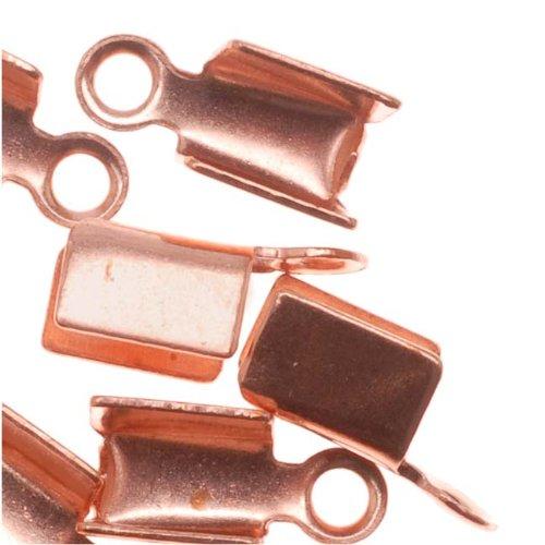 Beadaholique Genuine Copper Foldover 3mm Cord Ends For Ribbon, Leather (x50) Copper Silk Ribbon