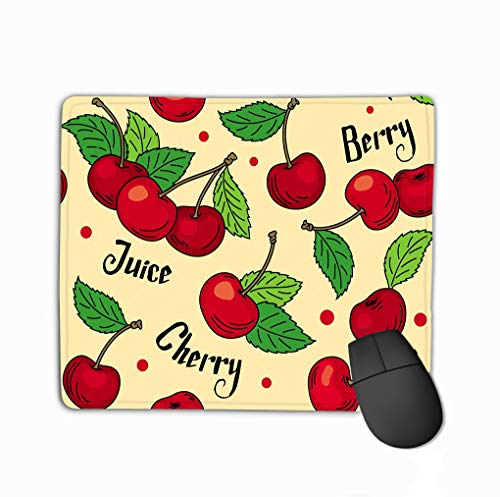 Rectangle Non-Slip Rubber Mousepad 11.81 X 9.84 Inch Pattern red Cherries Green Leaves Beige Background Words Cherry Berry Juice Colored