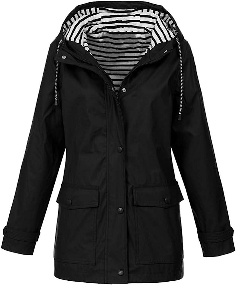 GOKOMO Damen Fr/ühling Herbst Bequem Mantel L/ässig Mode Jacke Frauen Feste Regenjacke im Freien Plus wasserdichter mit Kapuze Regenmantel Winddicht
