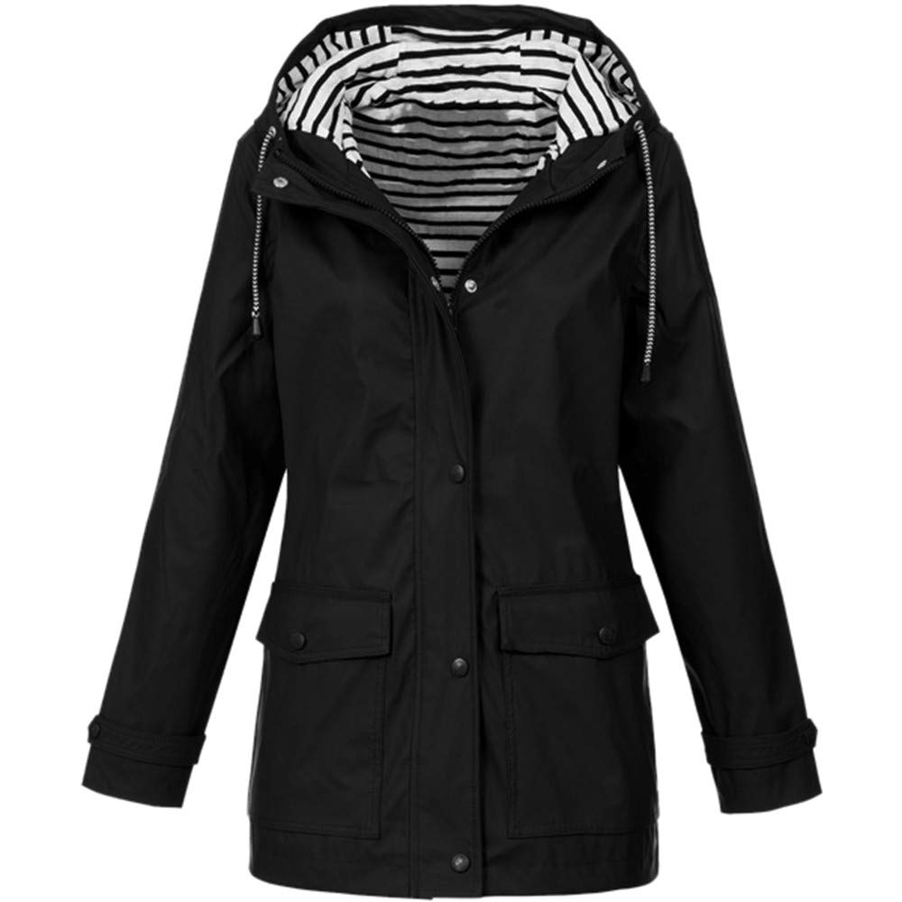 HebeTop ✰ Women's Windbreaker Fashion Solid Rain Jacket Outdoor Hoodie Waterproof Long Coat Windproof Overcoat Black by ▶HebeTop◄➟HOT SALES