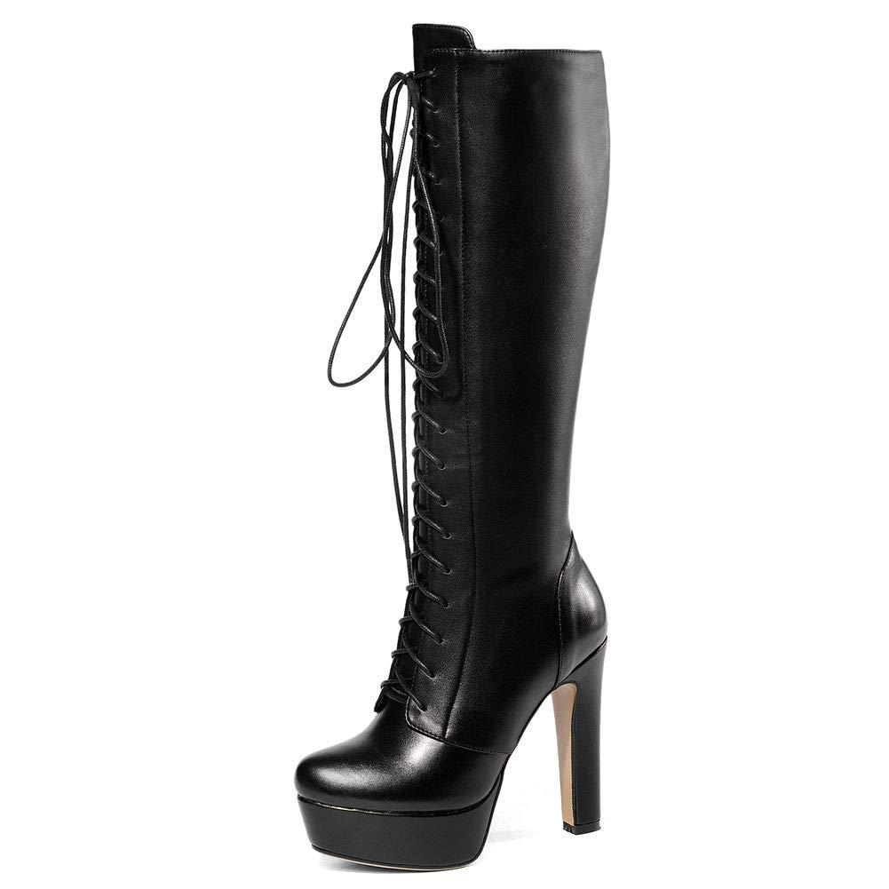 Women's Platform Knee-High Lace-Up Block Heel Black Genuine Leather Boots - DeluxeAdultCostumes.com