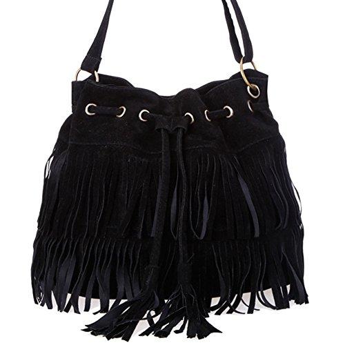 Très Chic mai Landa Femme Mode Sac à franges Shoulder Sac Messenger Bag Noir