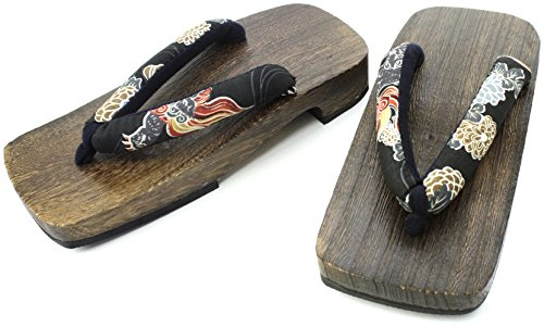 Japanese Mens Flip Flops Wooden Samurai Sandals Shoes M Size,black,white,flower