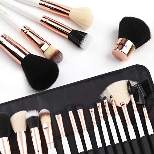 ZOREYA(TM) Makeup Brushes 15 Piece High End Rose Gold Professional Makeup Brush Set Kit with Free Premium Quality Luxury Leather Make up Organizers Storage Case Bag plus Kabuki Brush
