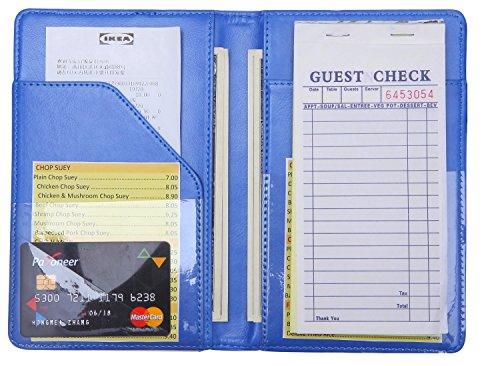 Mymazn Waiter Book Server Wallet Server Pads Waitress book Restaurant Waitstaff Organizer, Guest Check Book Holder Money Pocket Fit Server Apron (Blue) by Mymazn