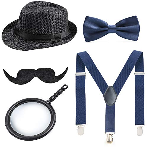 Beelittle 1920s Boys Costume Fedora Hat Suspenders for 2-10 Years (C)