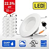 IN HOME 6-inch LED Downlight RETROFIT KIT Recessed Lighting Fixture, 18W (90W Equivalent), Dimmable, 3000K (Warm white), 1200 Lumens, (12 Pack), UL and ENERGY STAR listed