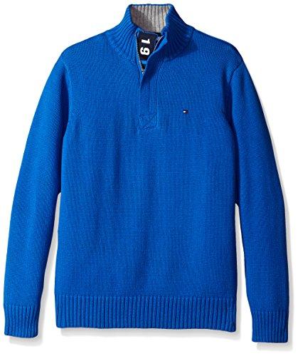 UPC 666980689804, Tommy Hilfiger Big Boys' Long Sleeve Zac 1/2 Zip Solid Sweater, Blue Jean, Large