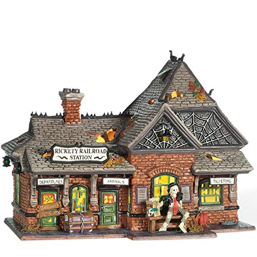 Department 56 Snow Village Halloween Rickety Railroad Station Lit Building, 8 Inch, Multicolor