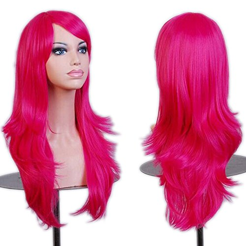 [LIANGSM 28 Inch Wigs Wavy Curly Cosplay Wig With Free Wig Cap (rose red)] (Lalaloopsy Adult Costumes)
