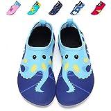 DKRUCAK Girls Boys Water Shoes Lightweight Quick-Dry Barefoot Aqua Socks Shoes For Lawn Pool Dance (6-7 M US Toddler= 22-23 EU, Wuzei Blue)