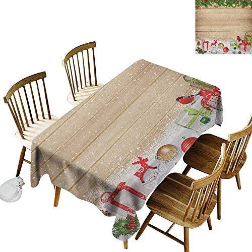 DONEECKL Christmas Durable Tablecloth Washed Pine Branches Ornaments on Wooden Planks Snow Presents Vintage Composition Print Multicolor W70 xL120