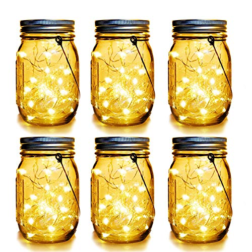 WERTIOO 6 Pack Solar Mason Jars Lights,30 LEDs Hanging Solar Lanterns Garden Decor Outdoor Lights Warm White Table Decor Fairy Lights for Patio Wedding Christmas Party