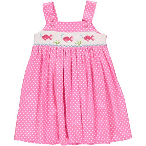 Carriage Boutique Baby Girls Pink Hand Smocked Sleevless Dress - Underwater Fish, Polka Dots 6M