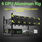 Aluminum GPU Mining Case Rig Open Air Frame For ETH/ETC/ ZCash (6 GPU)