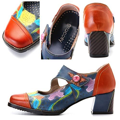 A Mano Mocasines Hechos Gancho Cuero Trabajo Merceditas Zapatillas Gracosy Naranja Mujer Tacón Cómodos Ocasionales Y Salón Moño Zapatos Bajo De Planos zw8qvxfPn
