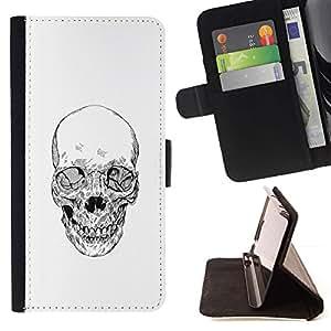 Momo Phone Case / Flip Funda de Cuero Case Cover - Cráneo de la muerte del motorista de la cuadrilla blanca Lápiz - Samsung Galaxy J1 J100