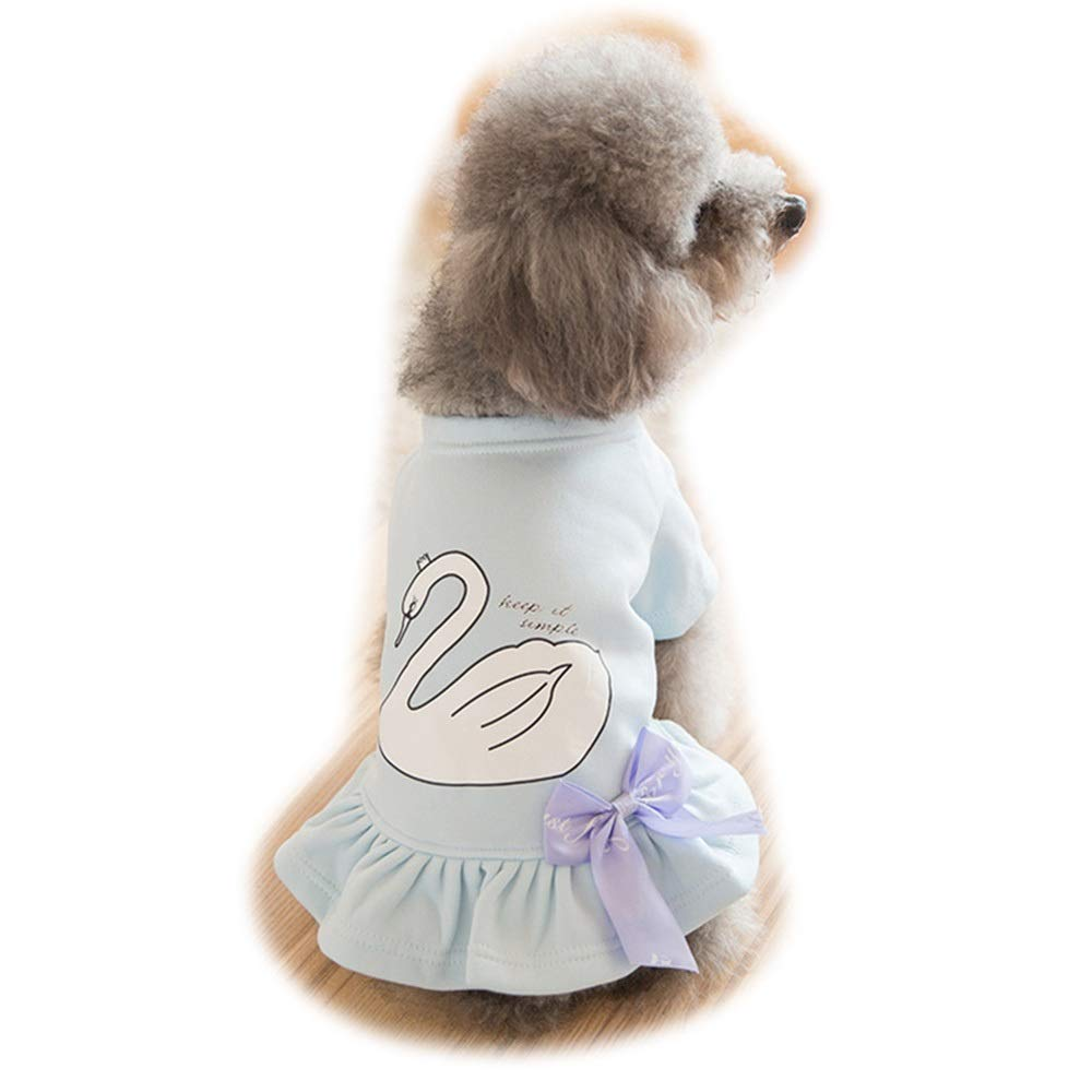 bluee M bluee M AUSWIEI Cute Bow Pet Skirt Guard Dog Clothes Two Feet Princess Dress (color   bluee, Size   M)