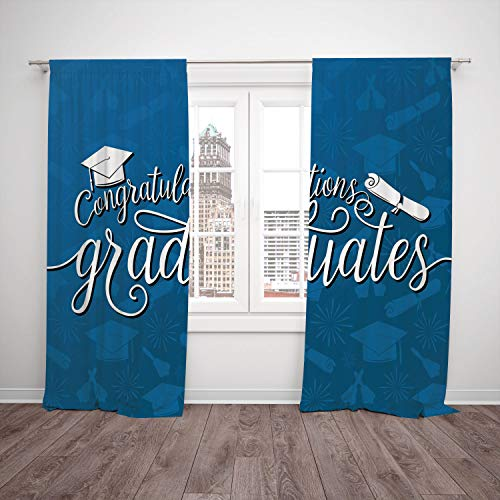 Graduation Dr Cap Seuss (SCOCICI Thermal Insulated Blackout Window Curtain [ Graduation Decor,College Celebration Ceremony Certificate Diploma Square Academic Cap,Blue White] Bedroom Living Room Dorm Kitchen Cafe)