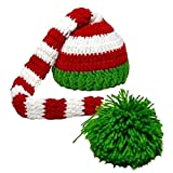 Kafeimali Baby Christmas Elf Long Tail Crochet Beanie Knit Hat Stocking Caps (Green 1)