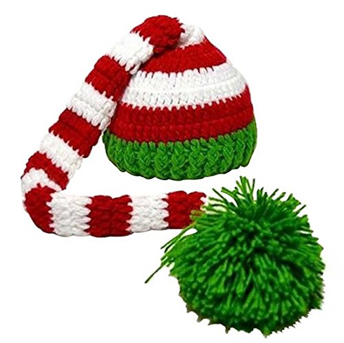 (Kafeimali Baby Christmas Elf Long Tail Crochet Beanie Knit Hat Stocking Caps (Green 1))