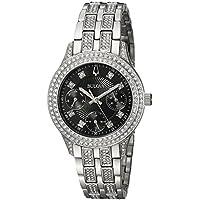 Bulova Quartz Crystal Markers Black Dial Silver Tone 33mm Womens Watch - Manufacturer Refurbished