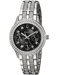 Bulova Womens Swarovski Crystal Quartz Stainless Steel Casual Watch, Color:Silver-Toned (Model: 96N110)