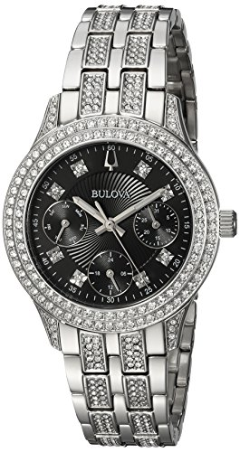 Bulova Women's 'Swarovski Crystal' Quartz Stainless Steel Casual Watch, Color:Silver-Toned (Model: - Multifunction Watch Stainless Bulova Steel