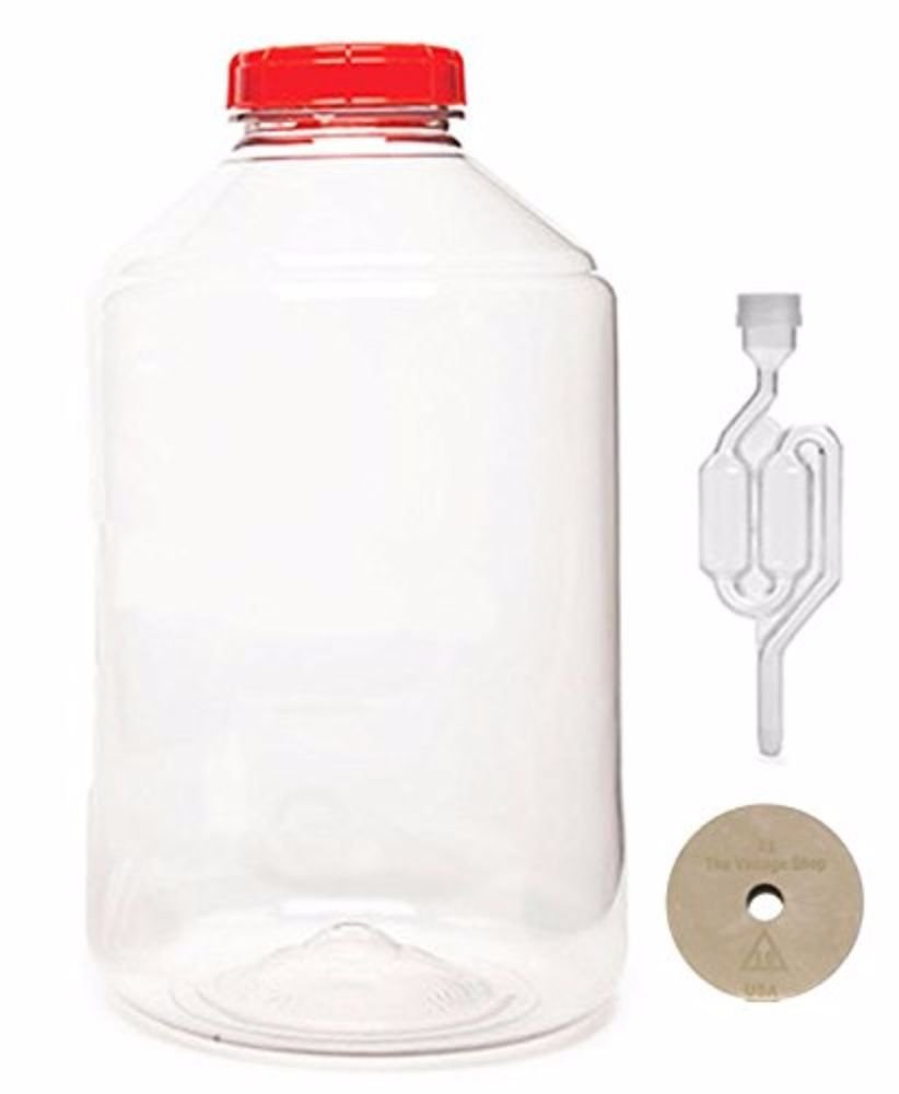 Vintage Shop - HOZQ8-1259 7 gal Fermonster Wide Mouth Carboy With #10 Drilled Stopper and Twin Bubble Airlock