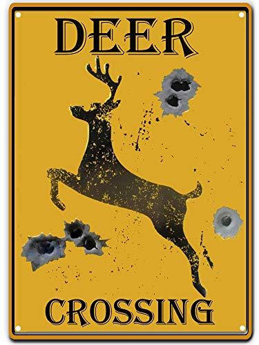 (SKYC Tin Signs Deer Crossing Caution Yellow Sign Bullet Holes Rustic Hunting Cabin Lodge Street Road Decor New Wall Art Retro Vintage Bar Country Home Outdoor Yard 8X12Inch)
