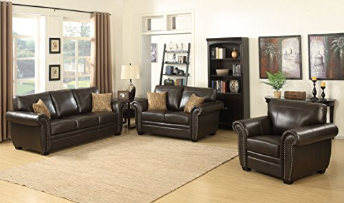 AC Pacific Louis Collection Traditional 3-Piece Upholstered Leather Living Room Sectional with Antique Nail Head Trim and 2 Accent Pillows, Brown