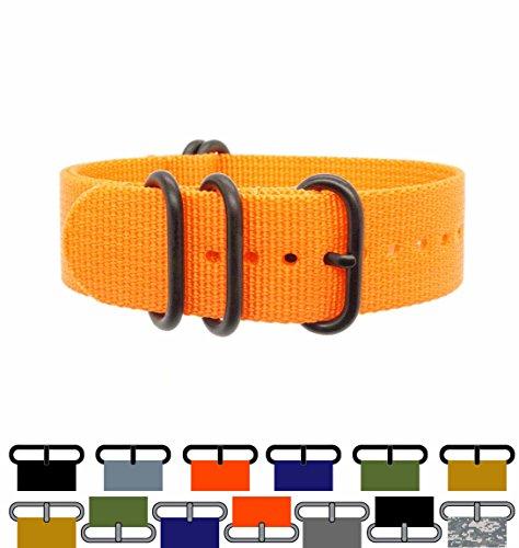 ZULU4 Ballistic Nylon Watch Strap + Spring Bars, Field Ready/Fashion Forward, Black-Ops/Rescue Orange, 20mm