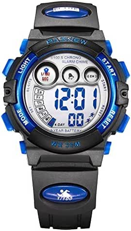 AZLAND Boys Girls Watches Digital Sports Watch Features Night-light,Swim,Frozen,Waterproof, Blue