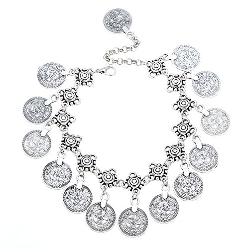 discount QSKS Women Retro Style Coin Charm Dangle Bracelet Anklet.8.27'' supplies